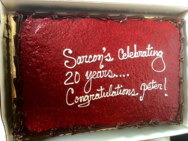 Anniversary cake celebrating Sarcon Construction's 20th year by Casa Nova Custom Catering, Santa Fe, NM