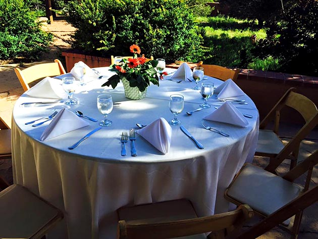 Garden table setting with full service catering by Casa Nova Custom Catering, Santa Fe, New Mexico