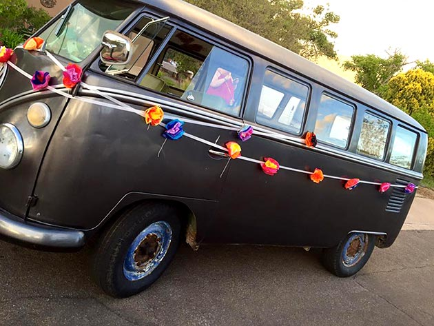 "Decorated ""Just Married"" van at a wedding catered by Casa Nova Custom Catering, Santa Fe, New Mexico"
