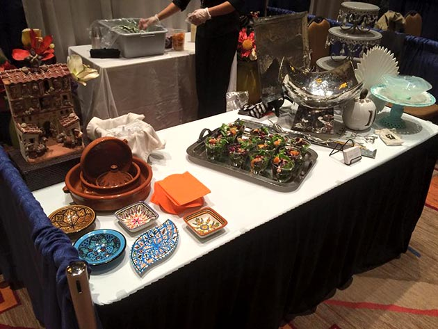 A variety of service ware on display from Casa Nova Custom Catering, Santa Fe, New Mexico