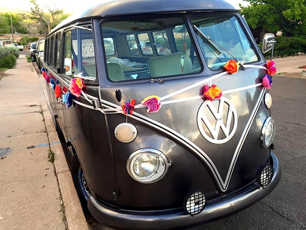 Your wedding, your style! Decorated van at wedding catered by Casa Nova Custom Catering, Santa Fe, New Mexico