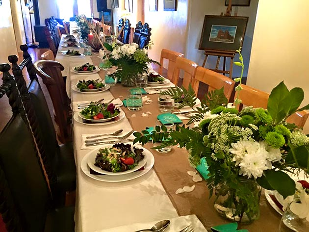Family style wedding dinner catered by Casa Nova Custom Catering, Santa Fe, New Mexico