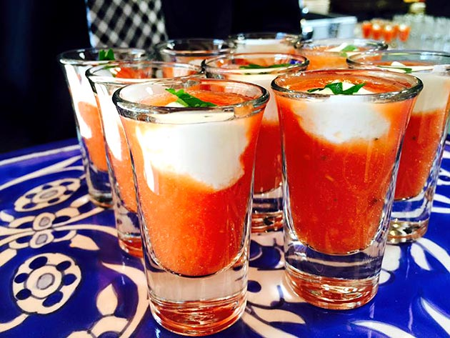 Tomato gazpacho with lemon crema dollop by Casa Nova Custom Catering, Santa Fe, New Mexico