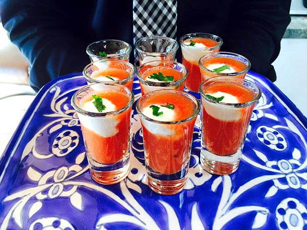 Tomato Gazpacho with a dollop of Lime Crema by Casa Nova Custom Catering, Santa Fe, New Mexico