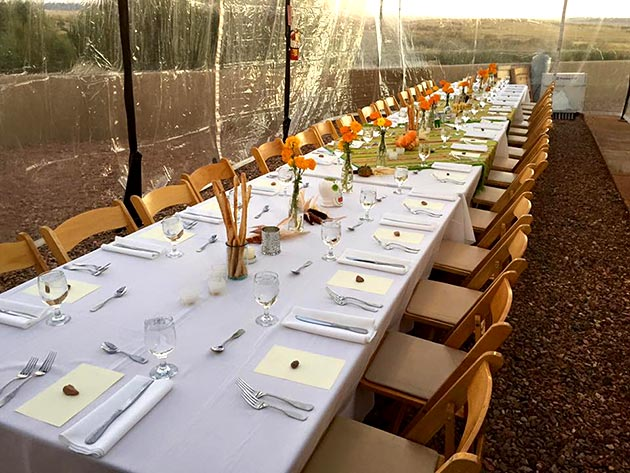 Banquet table setting for Dia de los Muertos celebration by Casa Nova Custom Catering, Santa Fe, NM