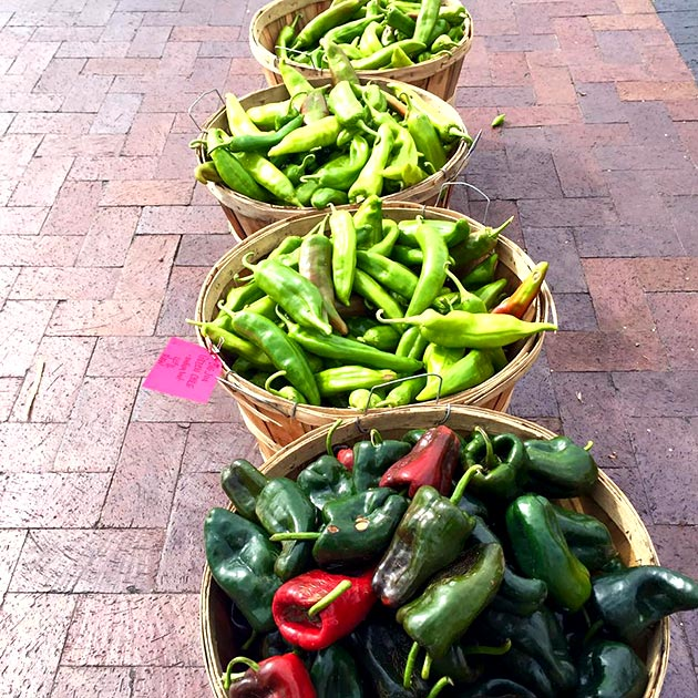 Buying local peppers and chiles at the Santa Fe Farmers Market for a catered event by Casa Nova Custom Catering, Santa Fe, NM