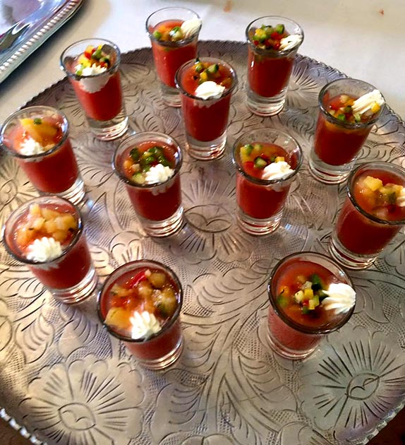 Gazpacho with lemon cream appetizers by Casa Nova Custom Catering, Santa Fe, NM
