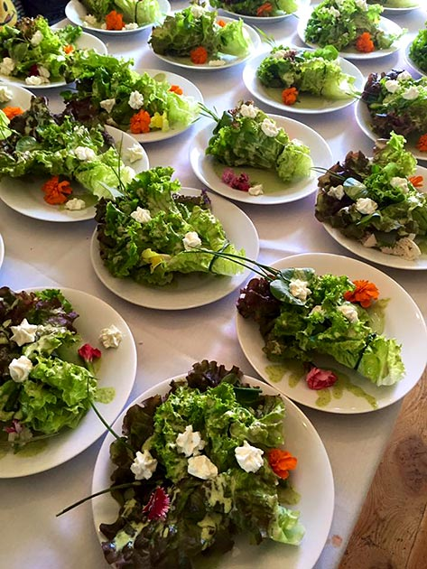 Brides/Grooms bouquet salad for a wedding catered by Casa Nova Custom Catering, Santa Fe, NM