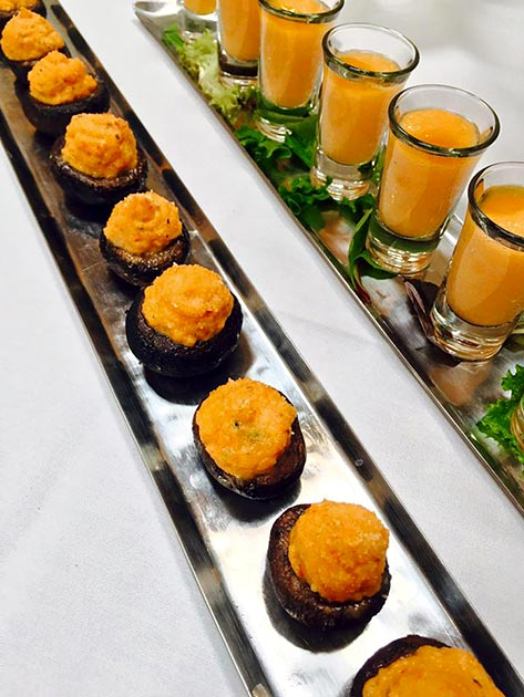 Stuffed mushrooms and melon gazpacho by Casa Nova Custom Catering, Santa Fe, New Mexico