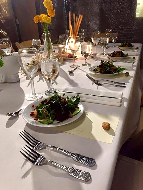 Elegant first course setting for a catered event by Casa Nova Custom Catering, Santa Fe, NM