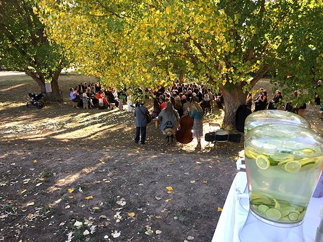 A scene from a catered wedding at Las Golondrinas by Casa Nova Custom Catering, Santa Fe, NM