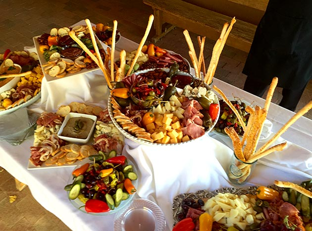 An abundance of appetizers at Casa Nova Custom Catering's antipasto table