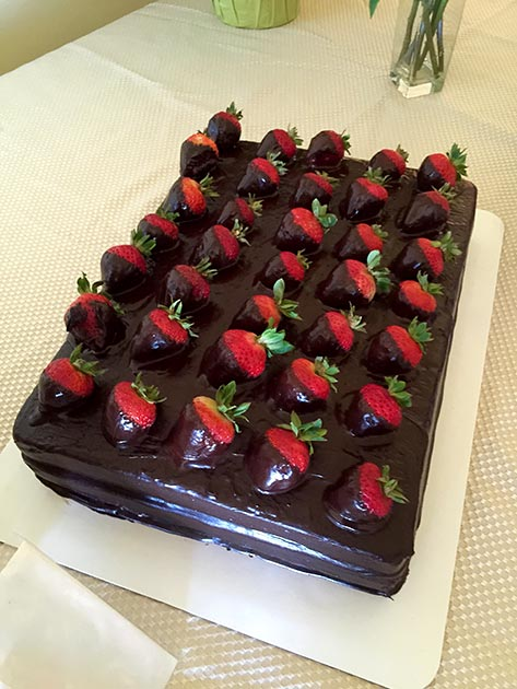 Mexican Chocolate Cake with Strawberries by Casa Nova Custom Catering, Santa Fe, NM