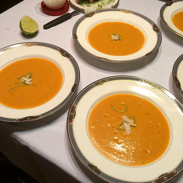 Butternut coconut soup for a catered event by Casa Nova Custom Catering, Santa Fe, NM
