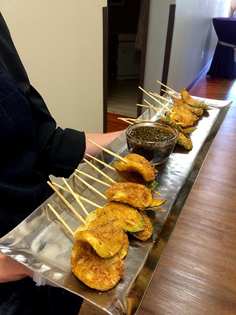 Panko encrusted zucchini skewer with ponzu sauce by Casa Nova Custom Catering, Santa Fe, NM