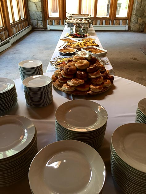 Bagel station at wedding brunch catered by Casa Nova Custom Catering, Santa Fe, NM