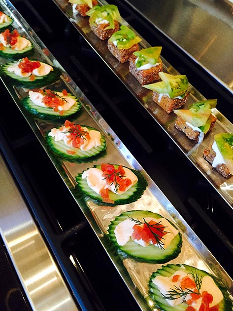 Colorful salmon mousse canape appetizers by Casa Nova Custom Catering, Santa Fe, NM