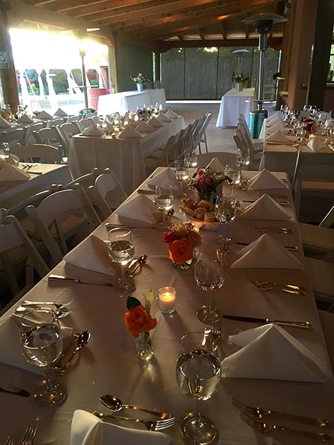 Las Golondrinas wedding banquet setting by Casa Nova Custom Catering, Santa Fe, NM