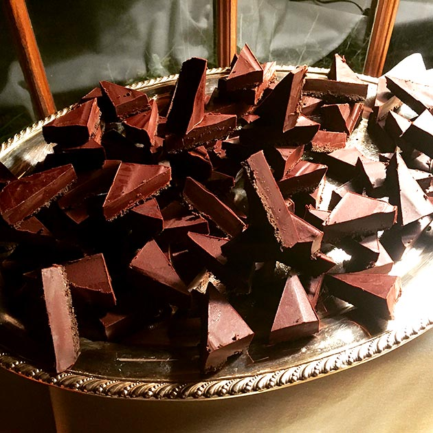Deep, rich belgian chocolate ganache bars dessert by Casa Nova Custom Catering, Santa Fe, NM