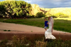 Ghost Ranch Bride at her wedding catered by Casa Nova Custom Catering, Santa Fe, New Mexico