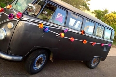 """Decorated """"Just Married"""" van at a wedding catered by Casa Nova Custom Catering, Santa Fe, New Mexico"""