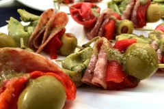 Antipasto skewer with basil vinaigrette appetizer by Casa Nova Custom Catering, Santa Fe, New Mexico
