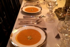 Vegetarian butternut coconut soup with pipettes by Casa Nova Custom Catering, Santa Fe, New Mexico