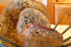 House-made flatbreads baked fresh by Casa Nova Custom Catering, Santa Fe, NM