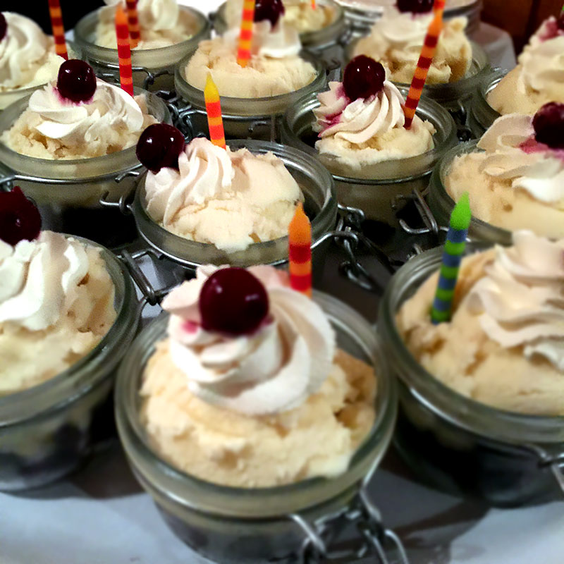 Horchata ice cream jars dessert by Casa Nova Custom Catering, Santa Fe, New Mexico